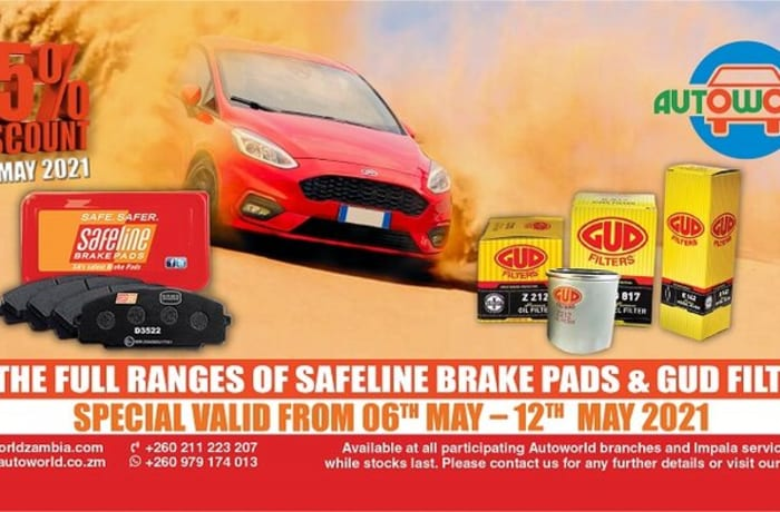 15% special on Safeline brake pads and GUD filters image