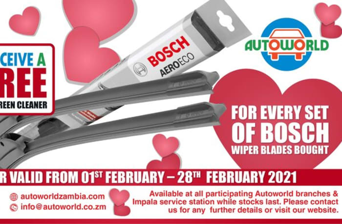For every set of Bosch wiper blades bought !! receive a free windscreen cleaner   image