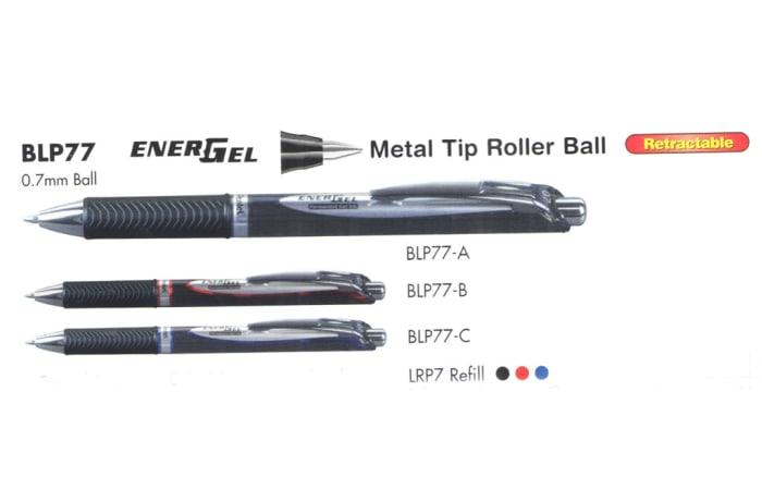 Energel Roller Pens - BLP77 EnerGel Metal Tip Roller Ball Retractable