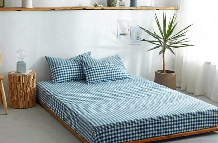 Bed cover sheets 1.5x1.8m  Simmon mattress cover Checked blue - 29043311543
