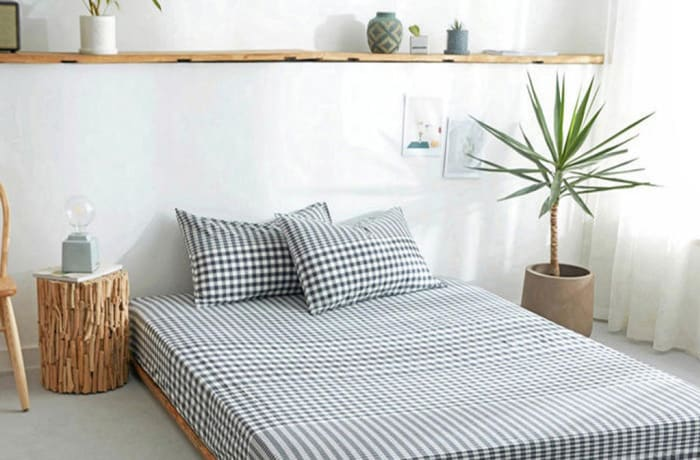 Bed cover sheets 1.5x1.8m  Simmon mattress cover Checked light blue - 29043311543