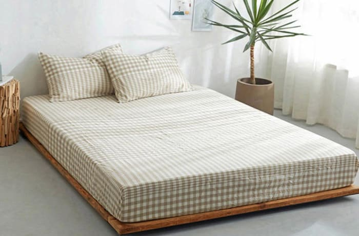 Bed cover sheets 1.5x1.8m  Simmon mattress cover Checked light grey - 29043311543