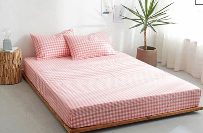 Bed cover sheets 1.5x1.8m  Simmon mattress cover Checked pink - 29043311543