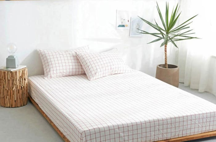 Bed cover sheets 1.5x1.8m  Simmon mattress cover Checked white - 29043311543