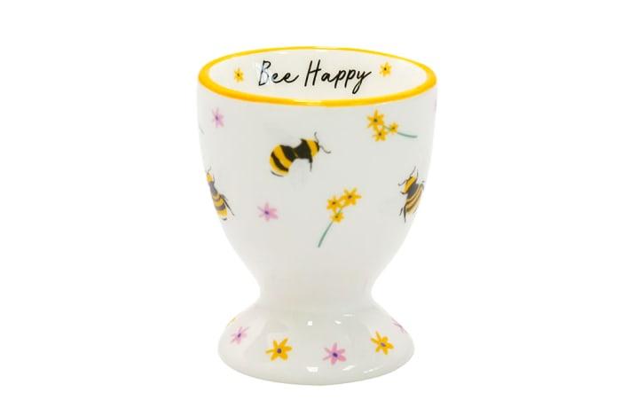 Egg Cup Beekeeper Ceramic Bee Happy
