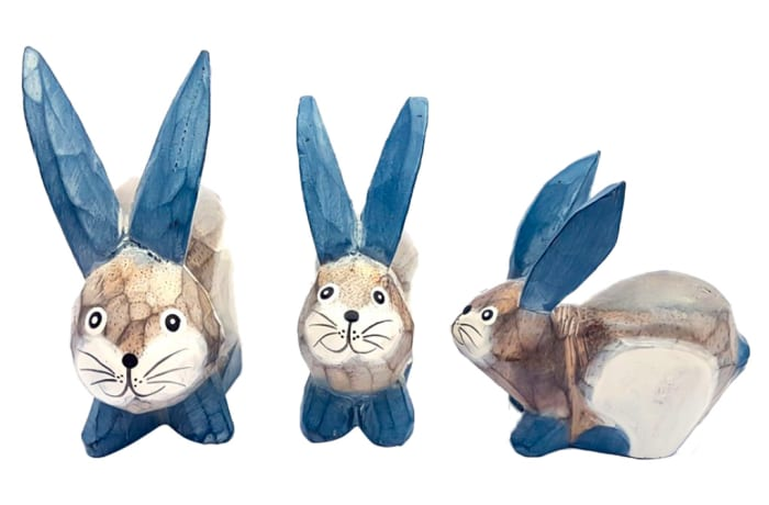 Handcrafted Blue  Wooden Rabbits