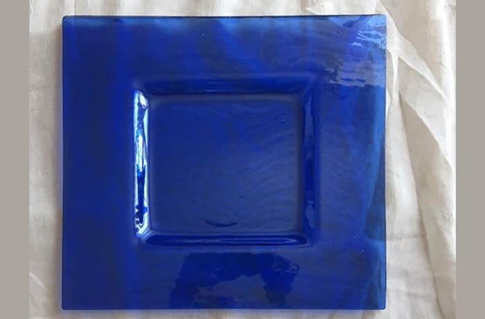 Blue square flat nut and dry fruit tray