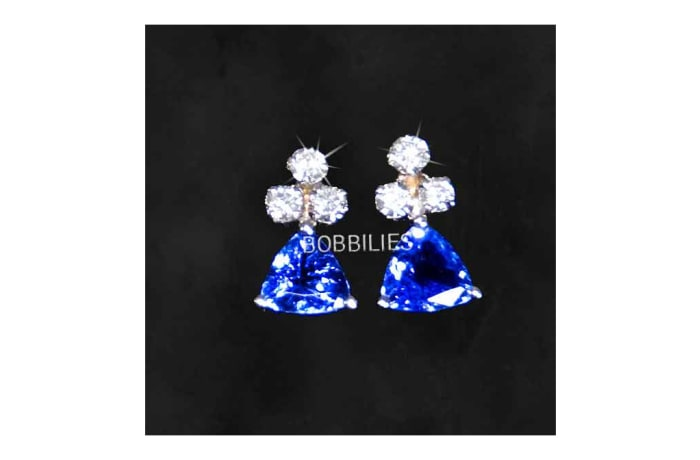 Earrings - Aquamarines & 3 Diamonds