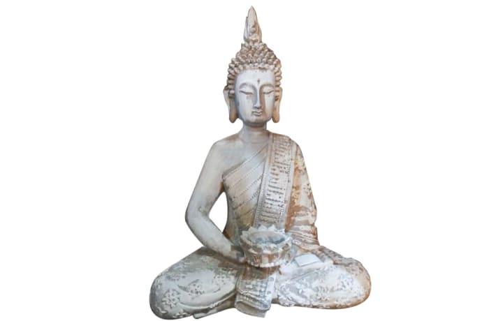 Buddha Statue White Clay