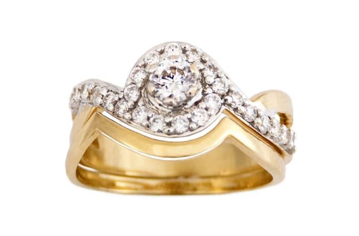 Bypass Frame Gold Wedding Ring