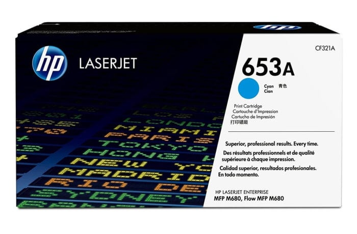 Printer Toner Cartridges - Hewlett Packard CF321A (HP 653A) Cyan Toner Cartridge