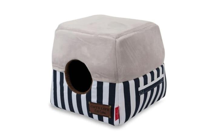 Cat's Life Navy Striped Cat Box