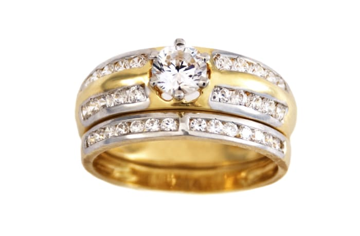 Row Channel Set  Gold Wedding Ring