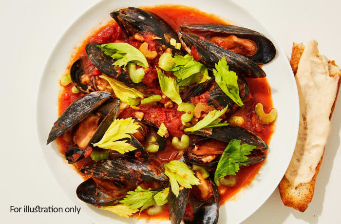 Tapas Style Small Dishes - Mussels in Tomato Broth