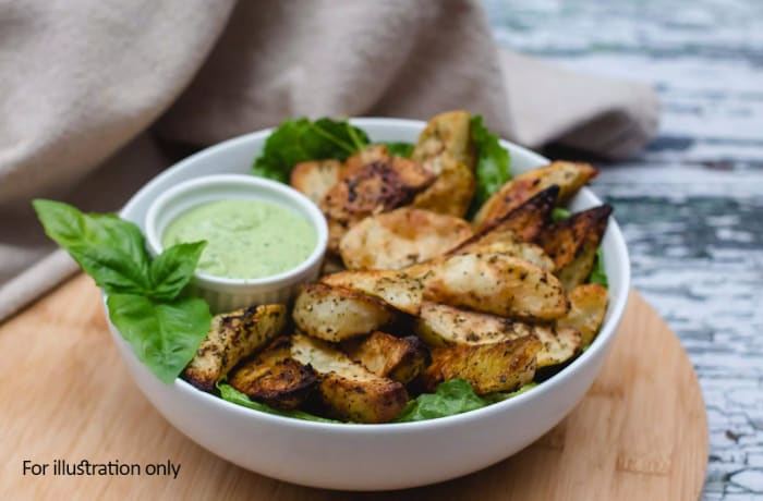 Tapas Style Small Dishes - Potato Wedges, Chive Sauce