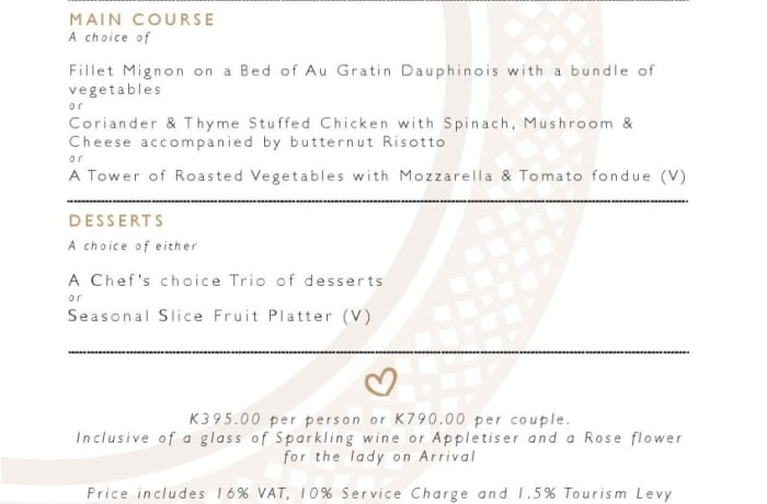5 course Valentine's meal, K790 per couple image