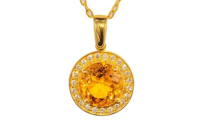 Yellow Gold Citrine & Diamonds Circle Pave Pendant