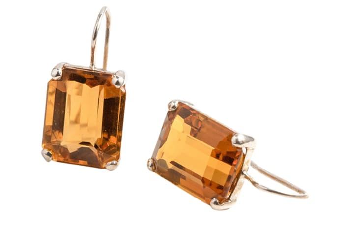Silver Stiff Hook  Citrine  Rectangular Earrings