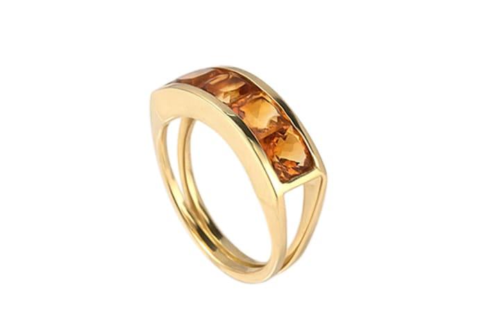 Yellow Gold Citrine  Split Shank Channel Ring