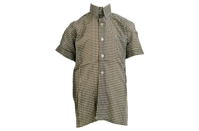 Checked Brown Short Sleeved Shirt