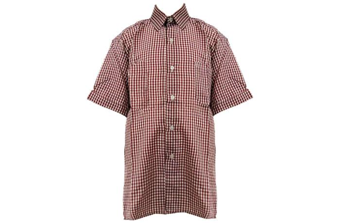 Checked Maroon Short Sleeved Shirt