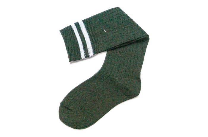 Dark Green with White Stripes Stockings