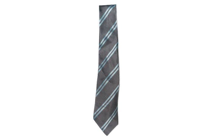 Gray with Light Blue Stripes Neck Tie