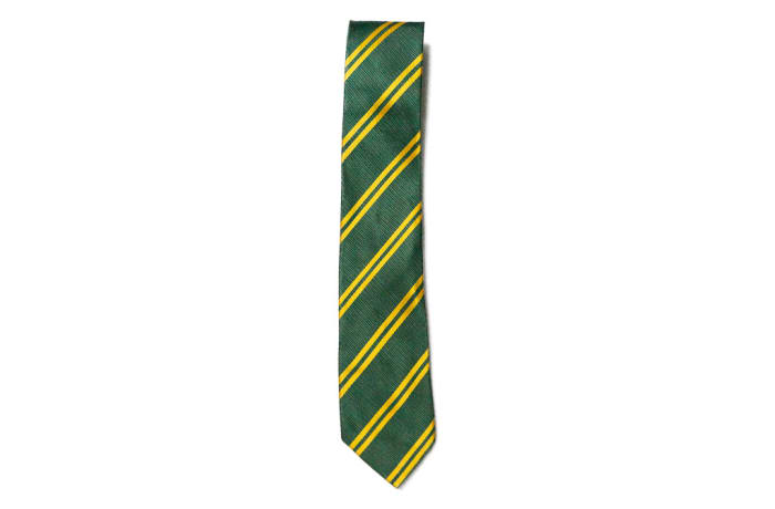 Green with Gold Stripes Neck Tie