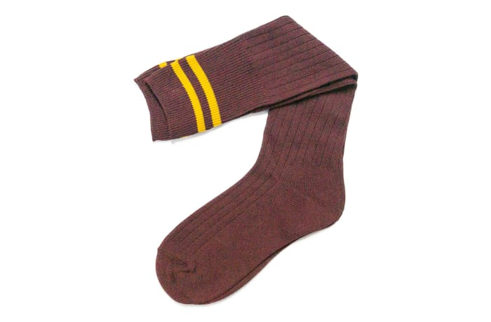 Maroon with Gold Stripes Stockings