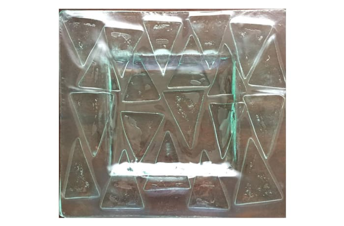 Clear glass triangle patterns coaster