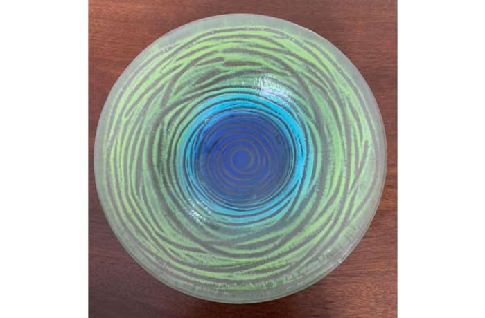 Concentric ringed glass serving dish