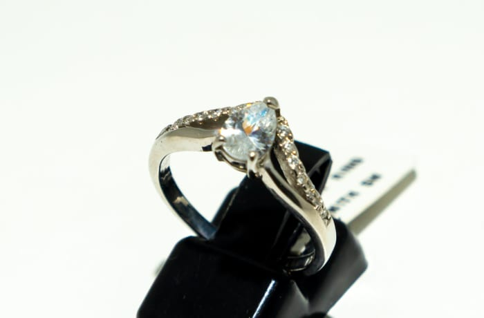 Two stone diamond engagement ring with crystals