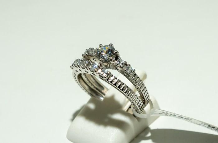 Silver wedding set and swarovski crystals two band ring