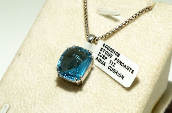 Aquamarine cushion with silver, white gold plated, stone pendant