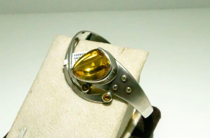 Silver Citrine gemstone bangle