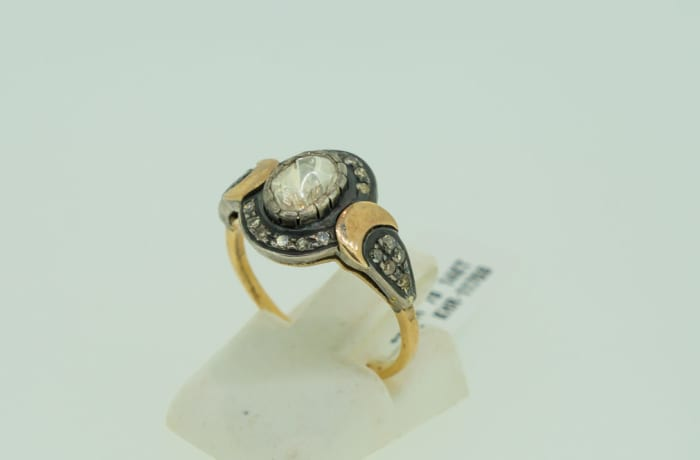 Yellow gold 14k rose cut diamond ring