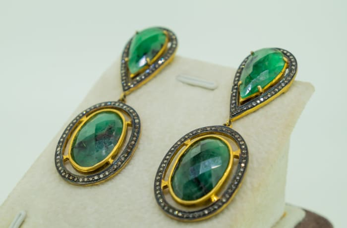 Silver, yellow gold platted, tear drop emerald diamond hanging earrings