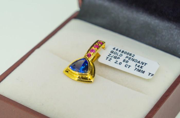 Yellow gold14k, sapphire and tanzanite pendant