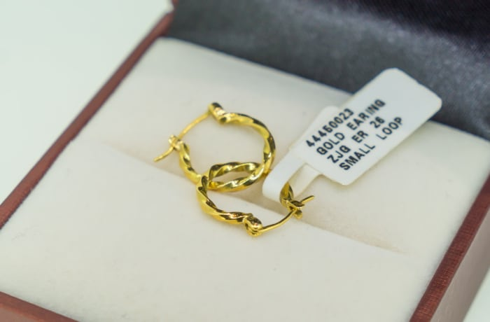 Yellow gold 18k small twisted loop earrings
