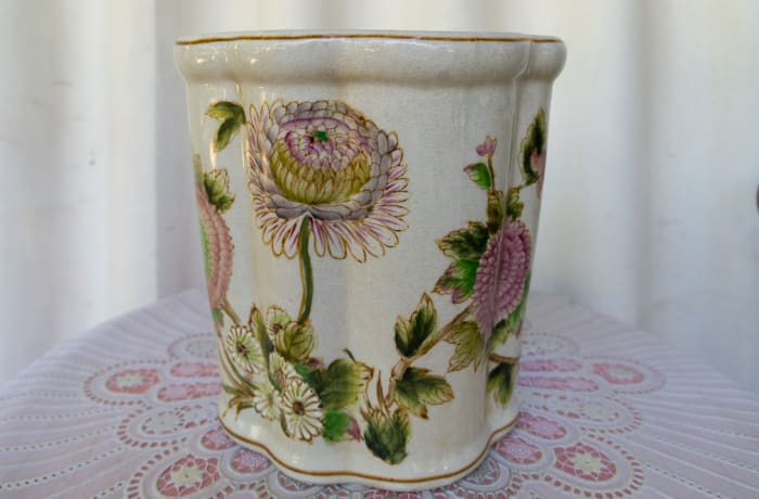 Floral Vintage Vase with Golden Lip