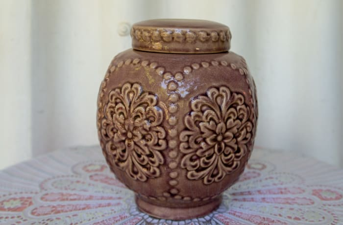 Vintage Brown Round Ceramic Jar