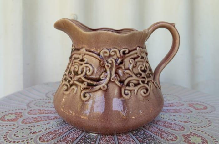 Vintage Brown Round Ceramic Jug