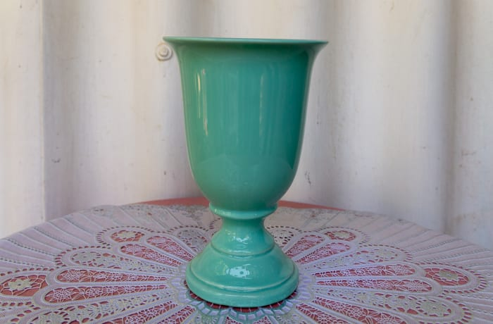 Blue Green Tall Open Porcelain Vase