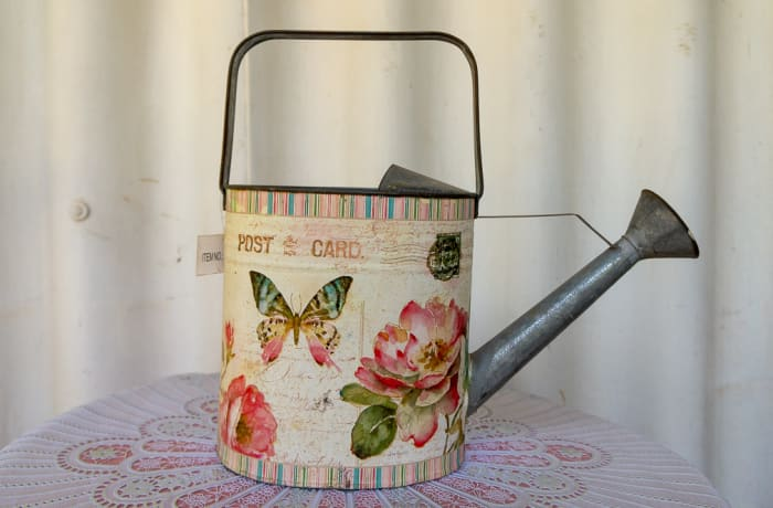 Enamel Watering Can with floral and butterfly print