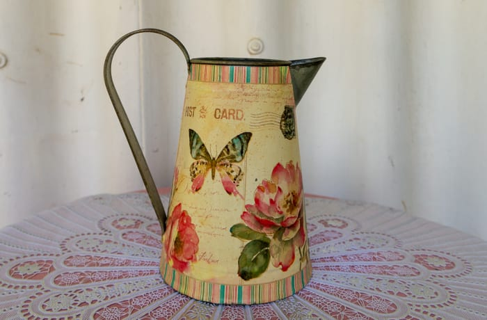 Enamel Watering Jug with floral and butterfly print