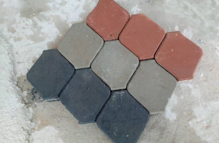 Square paver with corners trimed