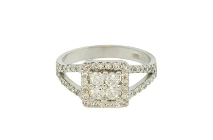 White Gold Diamond  Pave Split Shank Ring