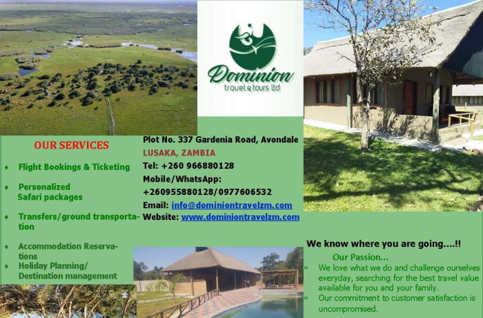 One-stop travel shop offering tailor-made travel packages within Zambia and Southern Africa image