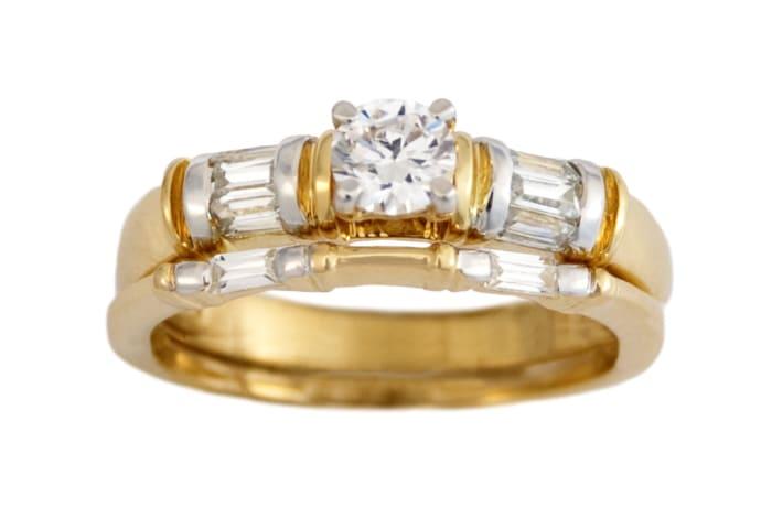 Dou Sides Bridal Set Gold Wedding Ring