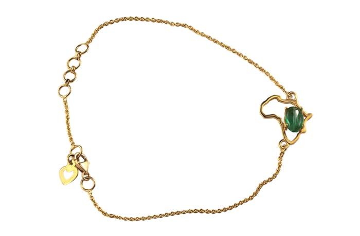 Yellow Gold  Emerald  Africa Shaped Bracelet